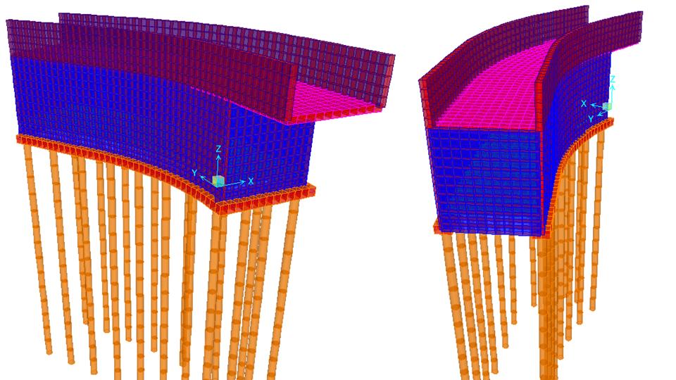 Estructura elevadora(tornillos de Arquimides) y cuarto de máquinas