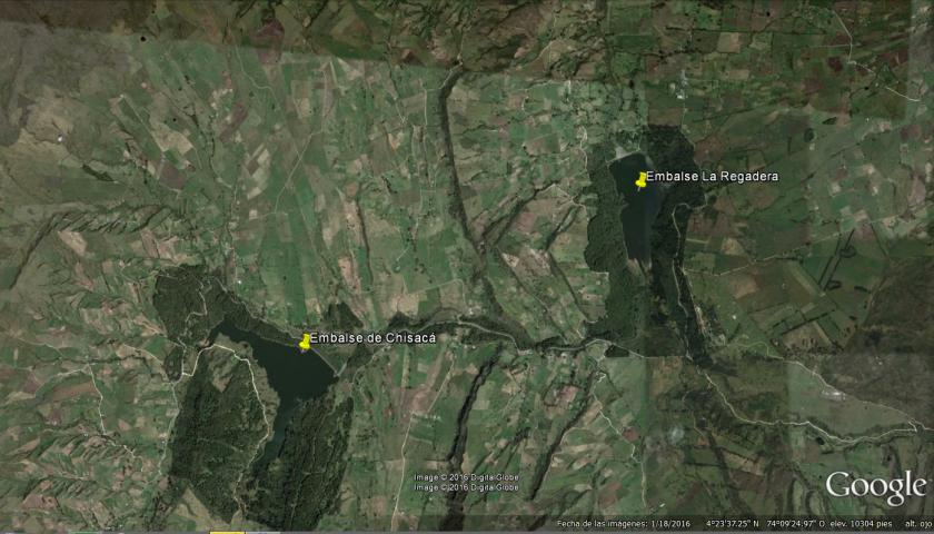 1. Embalse de Chisacá y La Regadera, ubicación – Fuente Google Earth