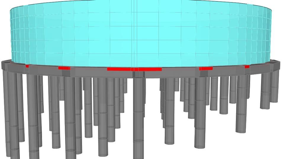 Tanque No.1  apoyado sobre mesa cimentada mediante columna-caisson