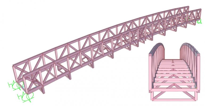 Puente en madera, modelo estructural