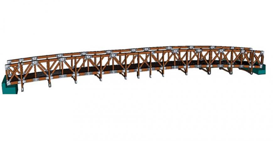 Render puente en madera